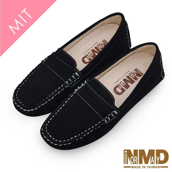 莫卡辛豆豆鞋 柔軟羊皮反絨麂皮磁石增高樂福豆豆鞋-MIT手工鞋(百搭黑) Normady 諾曼地