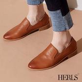 樂福鞋-HERLS 品味生活 全真皮素面橢圓頭樂福鞋-棕色