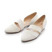 【Fair Lady】有一種喜歡是早秋-鏤空剪裁皮革尖頭平底鞋 白