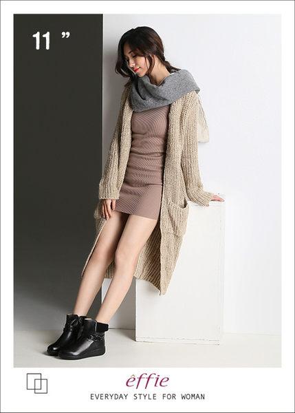 effie 混搭美型 異材質拼接編織扣帶輕量短靴  黑