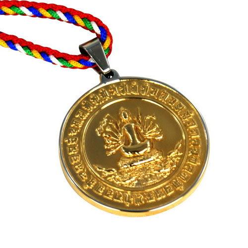 【藏傳佛教文物】準提寶鏡 精工雙色 鏡面項鍊 護身符 (PB-N00015)