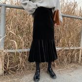 魚尾裙 半身裙女復古絲絨魚尾裙高腰中長裙 小天後