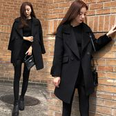 Qmigirl 韓版寬鬆顯瘦呢子大衣中長款加厚毛呢 外套【T1016】
