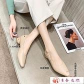 高跟鞋 真皮女粗跟軟皮羊皮女鞋春秋單鞋鞋子新款中跟高跟鞋【快速出貨】