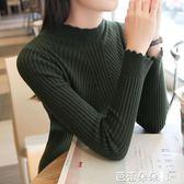 打底針織衫 秋冬新款韓版彈力半高領毛衣打底衫女學生緊身外套長袖套頭針織衫【芭蕾朵朵】