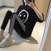 VK旗艦店 韓系寬鬆時尚笑臉短袖t恤長褲套裝短袖褲裝