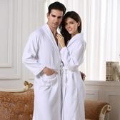 酒店純棉浴袍男女夏華夫格全棉吸水浴衣春夏秋季薄款長款成人睡袍
