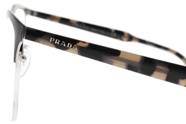 PRADA光學眼鏡 VPR53V 2621O1 (深灰-裸琥珀) 極簡貓眼半框款 平光鏡框 # 金橘眼鏡