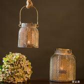燭臺  復古懷舊鐵藝玻璃鏤空風燈蠟燭臺餐廳餐桌裝飾品情調擺件 KB11757【野之旅】