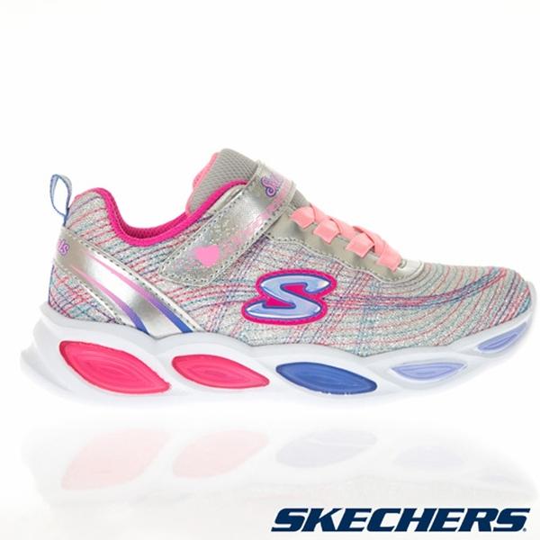 SKECHERS SHIMMER BEAMS 童鞋 大童 燈鞋 彩光閃耀 靈活 避震 網布 銀彩 【運動世界】20300LSMLT