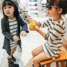 黑白條紋開岔長版上衣  洋裝  橘魔法Baby magic 現貨 兒童 童裝 女童  連身洋裝  薄長袖