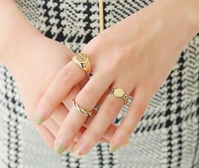 韓版 現貨復古字母戒指3件組-金色/銀色。【BeautyBox】R1607S1049