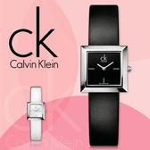 CK手錶專賣店 K3R231C1 女錶 指針 黑面 方型 石英 真皮錶帶 礦物抗磨玻璃