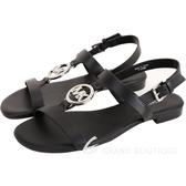 Michael Kors Beth 銀字牛皮平底羅馬涼鞋(黑色) 1840237-01