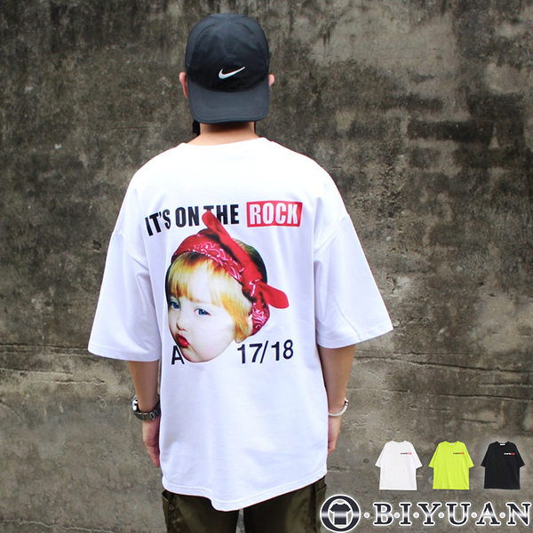 【OBIYUAN】寬鬆 短袖衣服 OVERSIZE 搖滾女孩 潮流短袖T恤 共3色【Y0767】