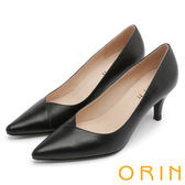 ORIN 時尚OL 簡約剪裁牛皮素面高跟鞋-黑色
