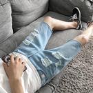牛仔褲 破洞潮流個性正韓修身中褲夏季薄款...
