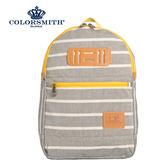 【COLORSMITH】PU・基本款後背包-灰色橫條紋・PU1362-GY