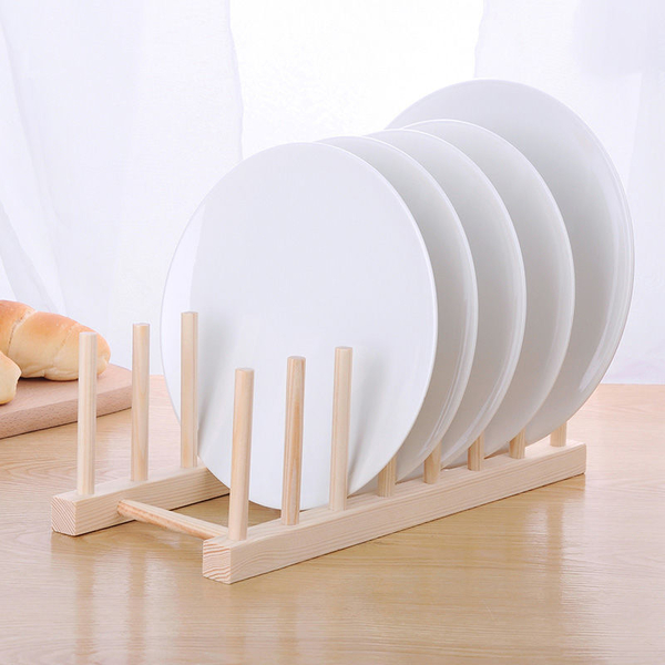 【BlueCat】8柱多功能木質間隔書架 碗碟架 瀝水架 杯架 置物架  廚房收納