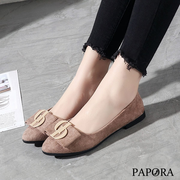 PAPORA時尚錢福平底娃娃鞋K5298黑/卡其(偏小)