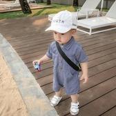 超萌嬰兒服男寶童裝衣服寶寶夏裝牛仔連身衣男童連身褲兒童爬服 滿天星