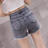 牛仔短褲女 2021年新款夏季高腰顯瘦緊身毛邊破洞彈力a字熱褲潮ins【八折搶購】