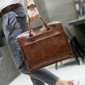 商務包  韓版男士手提包時尚潮流公文包商務簡約休閒個性手拎包 卡卡西
