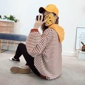 針織衫-連帽時尚條紋寬鬆休閒女毛衣5色73tp13[巴黎精品]