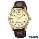 CASIO卡西歐 休閒時尚簡潔大方數字皮帶腕錶-金 MTP-V001GL-9B