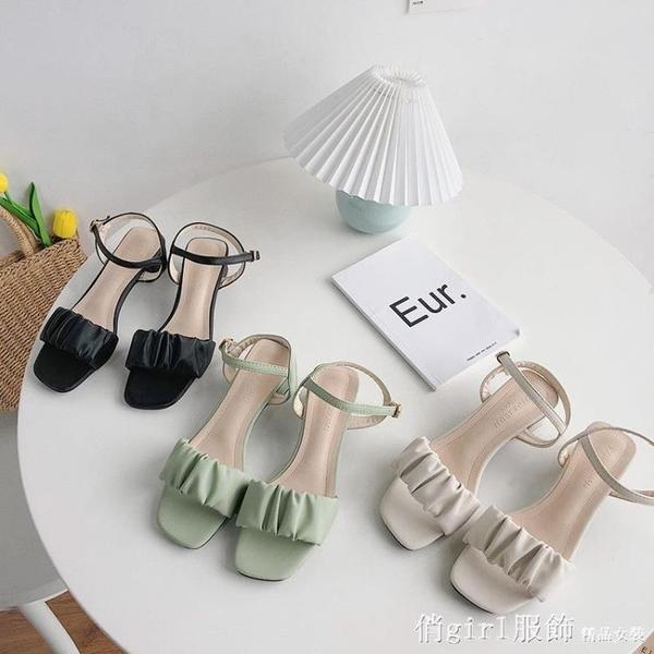 羅馬涼鞋 仙女風粗跟羅馬涼鞋女2021春季新款法式高跟鞋百搭中跟女鞋ins潮 開春特惠