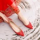 婚鞋女平底新款新娘鞋水晶