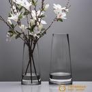北歐T型簡約玻璃花瓶透明描金家居裝飾插花花瓶擺件【小獅子】