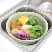 瀝水籃家用廚房蔬菜藍素色雙層瀝水籃洗菜籃水果籃居家多用塑料籃     汪喵百貨