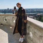 毛呢外套-英倫風格子寬鬆加厚長版女大衣73yx21【時尚巴黎】