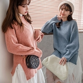 MIUSTAR 柔軟親膚!下襬開衩立領棉羊絨針織毛衣(共6色)【NH3257】預購
