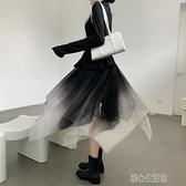 半身裙蓬蓬裙女秋冬炸街漸變不規則顯瘦小個子復古中長款網紗半身裙 快速出貨