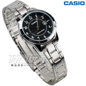 CASIO卡西歐 LTP-V004D-1B 都會數字錶 指針腕錶 女錶 不銹鋼錶帶 黑色 指針錶 防水手錶 LTP-V004D-1BUDF