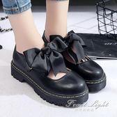 軟妹淺口圓頭單鞋平底中跟休閒娃娃鞋鞋 果果輕時尚
