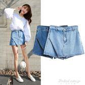 韓版牛仔短褲女裙褲淺藍色褲裙半身裙女短裙女熱褲子  蒂小屋服飾
