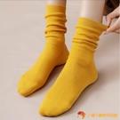 堆堆襪女秋冬素色棉襪日系可愛全黑色中筒襪厚襪子長襪【小獅子】