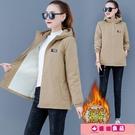 工裝外套 棉服2021年新款女棉襖外套冬季短款加絨加厚棉衣派克大碼胖MM工裝 源治良品