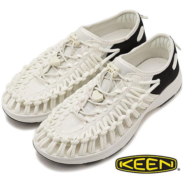 【Keen】女 UNEEK O2 拉繩涼鞋『黑/白』1018734 繩編鞋.水陸兩用鞋.運動健走鞋.沙灘戲水鞋.透氣.快乾