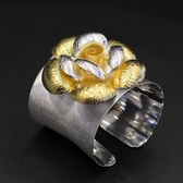 手環 925純銀-拉絲鍍金花朵寬版生日情人節禮物女手鐲73na145【時尚巴黎】