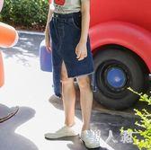 中大尺碼女童牛仔裙短裙時尚中大兒童不規則半身裙長裙 zm4949『男人範』