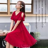V領飄逸露肩綁結不規則層次下擺及膝裙雪紡洋裝[98795-QF]小三衣藏