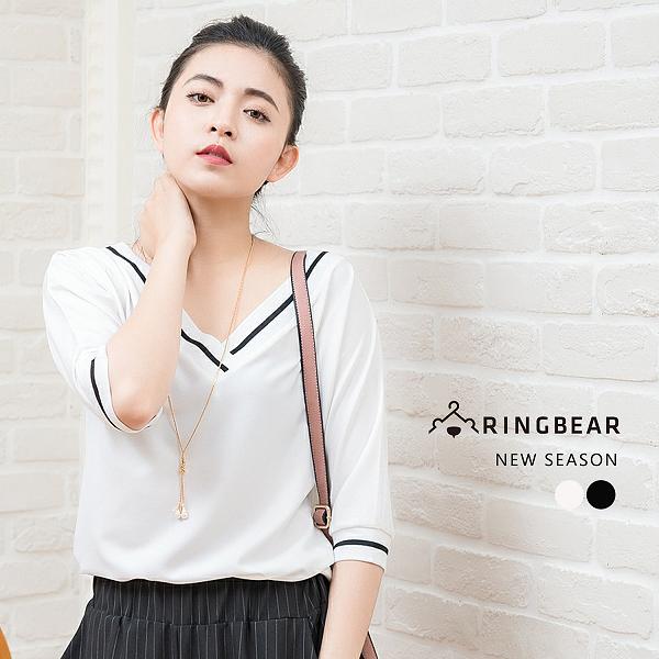 雪紡上衣--優雅氣質線條羅紋厚質感雪紡V領五分袖寬鬆上衣(白.黑XL-3L)-U473眼圈熊中大尺碼