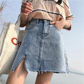梨卡 - 超顯瘦修身復古仿舊高腰開叉包臀短版牛仔裙牛仔短裙/2色BR239