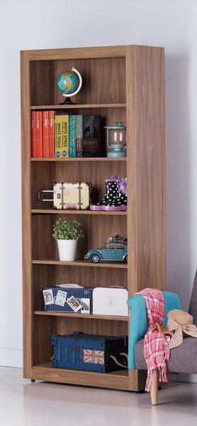 【森可家居】蘿拉2.6尺柚木色開放書櫃 7JX257-3
