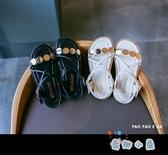 兒童夏季涼鞋時尚軟底公主鞋女生鞋子綁帶亮片夏【奇趣小屋】