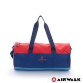 Backbager 背包族【美國 AIRWALK】跳躍節奏 亮彩輕量尼龍運動旅行圓筒包(藍桔)